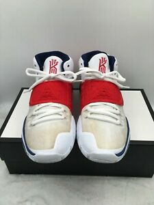 """Nike Kyrie 6 BQ4630-102 Basketball Shoes """"USA"""" Red White Blue Men's Size 10 US"""