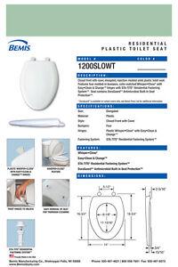 Bemis 1200SLOWT-035 Elongated Plastic Slow Close Toilet Seat - SEA GREEN