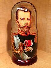 "RUSSIAN ROMANOV TSAR QUEEN PRINCE PRINCESS PORTRAITS MATRYOSHKA NESTING DOLL 10"""