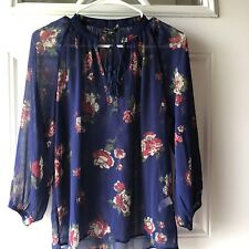 Lucky Brand NWT Women's XS Blouse Peasant Floral  Long Sleeves V-Neck w/Tie