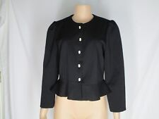 ICHIKO Miyake Black Knit Peplum Jacket Cameo Buttons