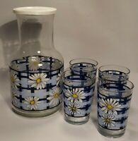 Vintage KIG INDONESIA Blue Gingham Daisies Juice Carafe Pitcher + Glasses
