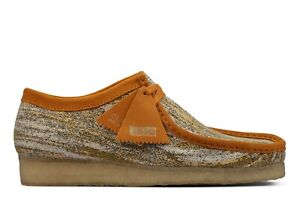 NEW MENS CLARKS ORIGINALS WALLABEE LOW LIMITED EDITION SAND TURMERIC FABRIC SHOE