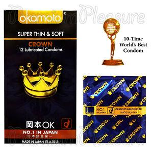 Okamoto Crown Condones Súper Fino & Suave Ultra Sensible Lubricados Japón BX24
