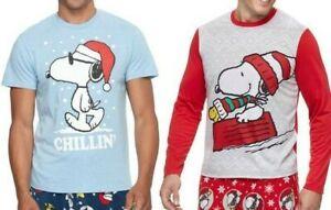 Peanuts Snoopy Christmas Pajama PJs Long Sleeve T-Shirt - Men's S M - New w/Tags