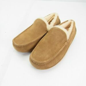 UGG ASCOT 1101110 Men Chestnut Suede Slipers Size 10 New Slides House Shoes Tan