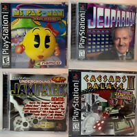 PS1 - 4 Games - Ms. PAC-Man, Jampack 98, Jeopardy, Caesar Palace II PlayStation