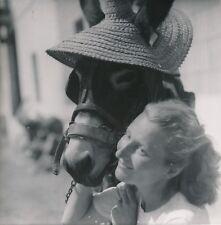 VALENCE c. 1950 - Âne Coiffé d'un Chapeau de Paille Femme  Espagne - Div 11856