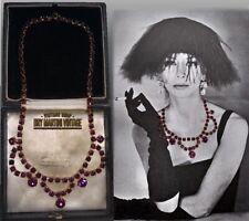 VINTAGE 1950s AMETHYST RHINESTONE CRYSTAL SWAG NECKLACE BRIDAL BEAUTIFUL GIFT