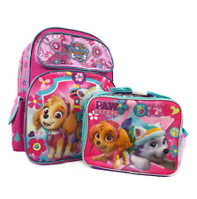 "sPaw Patrol Girls 16"" inches School Backpack & Lunch Box NEW - Licensed Product"