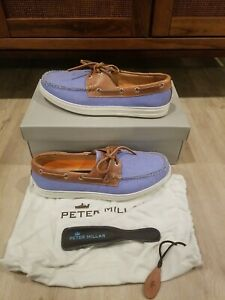 Peter Millar, Monteray Tohoe Dockside Boat Shoes, Size 9.5, Blue, NWB $245