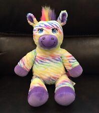 "4ca8306643a Build A Bear Zebra Rainbow Striped Plush Stuffed Animal 18"" Soft Toy BABW"