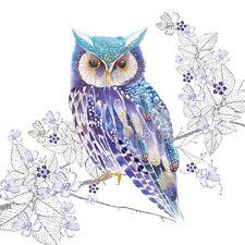 4 x Single Paper Napkins/3 Ply/Decoupage/Craft/Wildlife/Nature/Fantasy Blue Owl