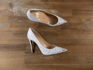 $1135 CHRISTIAN LOUBOUTIN Degrastrass leather strass crsytal pumps - 7.5 / 37.5