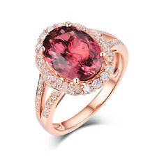 Solid 14K Rose Gold Tourmaline & Diamond Women Wedding Vintage Gemstone Ring