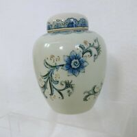 "Ginger Jar White Blue Floral Andrea By Sadek 6"" Vintage Home Decor"