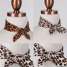 Women 1950's Leopard Bow Tie Choker Necklaces Skinny Neck Scarf Warp Neckerchief