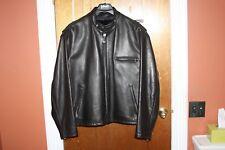 Men's Schott 141 Cafe Racer Black Leather Jacket Size 46 48 excellent zip liner