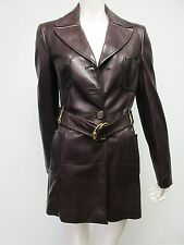 GUCCI Women's Dark Brown Leather Trench Coat Jacket MSRP $4500+ Size 44 US 8