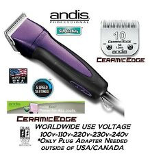Andis Excel 5 Speed Super Clipper CERAMICEDGE #10 Blade CAT PET HORSE DOG*PURPLE