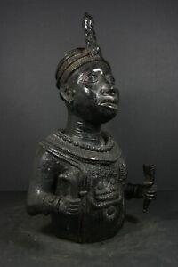 """Large 15.4"""" African BENIN Bronze Buste, OBA Royal King - Nigeria,TRIBAL ART"""