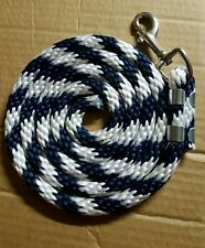 Horse Nylon Lead Rope 70 inches with steel  Swivel Snap - navy/white candy cane