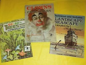 Lot 3 Vtg WALTER T FOSTER How To Draw & Paint ART BOOKS Trees CLOWNS Seascape