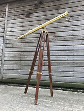 "Full Size Brass Telescope On a Wooden Tripod Stand 39"" Tube Length"