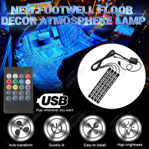 4x 36LED RGB Car Interior Atmosphere Footwell USB Strip Lights Decor Lamp 12V