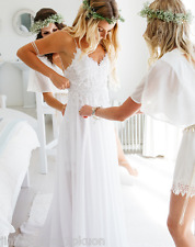 Summer 2017 Boho Split Beach Bridal Gown Chiffon Lace Wedding Dress US Size 2-16
