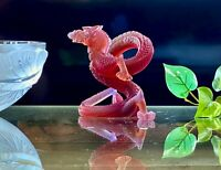 DAUM Figure 8 Dragon Amber Crystal Pate de Verre Signed Mint with Daum Box Nice