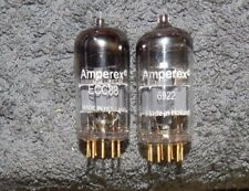 2 PIECES AMPEREX D GETTER 6922 / E88CC / ECC88 6DJ8 TUBES GOLD PINS HOLLAND CCA