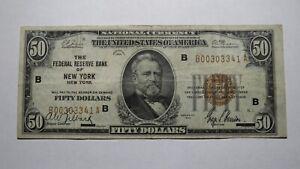 $50 1929 New York City NY National Currency Bank Note Bill Federal Reserve Note