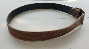 Harley Davidson Embossed Brown Leather Belt - Size 36 - USA Made -