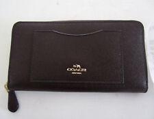 Coach F54007 Women's Accordion Zip Wallet In Crossgrain Oxblood Leather $250