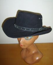 Black Felt Wool Studded Cowboy Western Hat Fancy Dress Costume Line Dancing Used