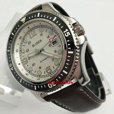 Bliger 44mm White Dial Luminous Automatic Movement Date Men's Wrist Watch 2600