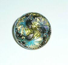 "Antiqued Finish Czech Glass Shank Button Silver Accents 15/16"" Floral Flower"