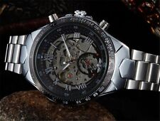 New Mechanical Skeleton Black Men's Watch Wrist Steel Automatic Stainless Silver
