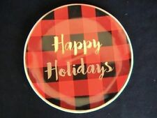 Christmas Northwood Lodge Salad/Dessert Plate Red/Black Plaid Happy Holidays