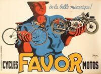 Affiche Originale - Bellenger - Favor - La Belle Mécanique - Vélo  Moto - 1937