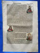 Altkoloriertes Blatt CCXVI - HEILIGE HEDWIG, Schedel Weltchronik 1493, Nürnberg