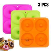 BAKHUK 3pcs 4Inches Donut Baking Pan Full Size Non Stick Silicone Molds Donut
