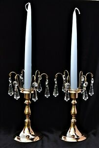 Candle Cuffs  with Swarovski Crystal Prisms Gold gilded metal bobeche Home decor
