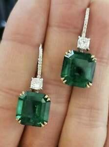 4.50Ct Asscher Cut Green Emerald Drop & Dangle Earrings 14K White Gold Finish