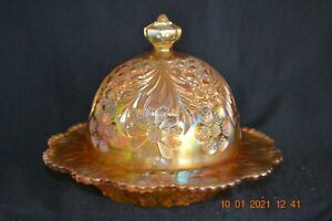 U.S. Glass Cosmos & Cane covered butter dish------honey amber