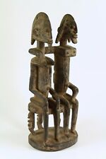 = Antique African Dogon Tribe Mali Wood Seated Couple Marriage Figure Statue