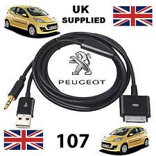 Peugeot 107 3GS 4 4S iPhone iPod USB y AUX 3.5mm Cable Usb