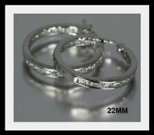 Set Cz Hoops Earrings Sterling Silver 22mm Channel