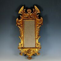 Antique Sculpted Gilded Wood Figural Mirror